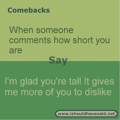 Use our great comebacks when someone calls you short. Check out our top ten come. Funny Insults And Comebacks, Witty Insults, Savage Comebacks, Snappy Comebacks, Clever Comebacks, Funny Comebacks, Funny Relatable Memes, Funny Texts, Sarcasm Quotes