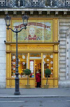 La Cure Gourmande, Chocolates and Sweet Shop, Paris, Ile-de-France Paris France, Boutiques, Shop Facade, Retro, I Love Paris, Shop Fronts, Shop Around, Stage Design, Toy Store