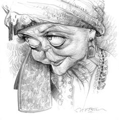 Jan Op De Beeck - Angela Lansbury, pencil, 30 x 30 cm for the ISCA forum.