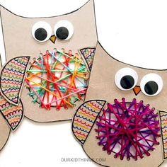 Yarn Crafts For Kids, Owl Crafts, Craft Activities For Kids, Toddler Crafts, Kindergarten Art, Preschool Crafts, Cardboard Crafts, Paper Crafts, Fabric Crafts