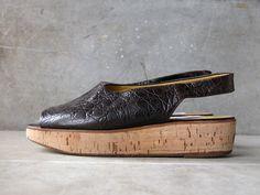 Croc Embossed Leather and Cork Platform Wedge Sandal in Black