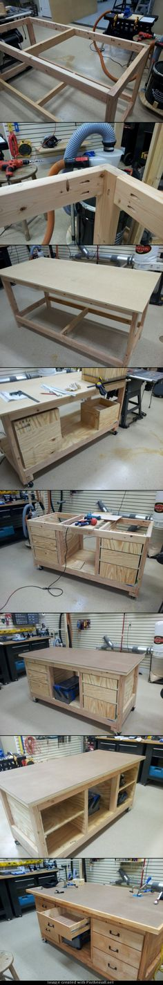 Built a new workbench to get started. Drawers on the front, storage on the rear with Kreg clamps on the top. Also added 115v receptacles to each end. - created via http://pinthemall.net