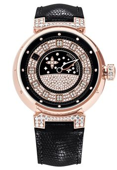 Tambour Spin Time Jewelry Automatic broad gauge LV96 box and pink gold buckle, 18ct dial and lugs set with black and white diamonds, black lizard strap © LOUIS VUITTON
