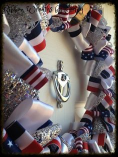 Patriotic- Ribbon Wreath $30 plus S if item must be shipped to you Place your customized order at: Ribbon_wreaths_by_emily@yahoo.com And check out my Facebook page at: https://www.facebook.com/RibbonWreathsByEmily