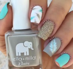 Blue, gold and feather nails! Fancy Nails, Diy Nails, Cute Nails, Teal Nails, Nails Turquoise, Ombre Nail, Manicure Ideas, Orange Nails, Best Nail Art Designs