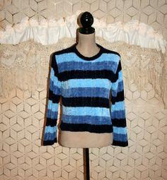 Blue Sweater Stripe Sweater Chenille Sweater by MagpieandOtis