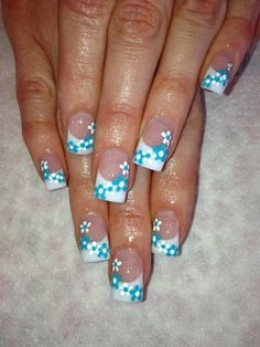 Nails french French White Sculpted acrylic overlay manicure LED polish color up with hand pai. French White Sculpted acrylic overlay manicure LED polish color up with hand painted daisies Gel-Nails-Polish-LED-Polish-LED-Nails-Acrylic-Nails-Nail-Art French Manicure Designs, Nail Designs Spring, Nail Art Designs, Nails Design, Floral Designs, Easter Nail Designs, French Acrylic Nails, French Tip Nails, Acrylic Gel