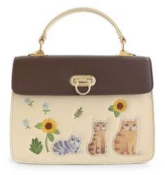 Mori Brown Embroidery Flap Feather Lock Girl Cat Floral Flower Beige Leather PU Women's Handbags Messenger Crossbody Bag Tote