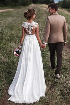 2018 Lovely Off White Lace Appliques Cap Sleeves Long Chiffon Beach Wedding Dresses uk 2018 Lovely Ivory Lace Appliques Long Chiffon Beach Wedding Dresses uk – SmilePromDress Wedding Dress Chiffon, Elegant Wedding Gowns, Country Wedding Dresses, Cheap Wedding Dress, Bridal Dresses, Wedding Country, Gown Wedding, Modest Wedding, Prom Dress