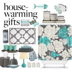 Housewarming Gift Ideas by bamaannie on Polyvore featuring polyvore, interior, interiors, interior design, home, home decor, interior decorating, DENY Designs, Jonathan Adler, Crate and Barrel, LAFCO, LINLEY, Aden + Anais, giftguide, contest, grey, turquoise and housewarminggifts