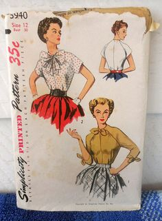 Understanding The Vintage Sewing Pattern - Sewing Method Vintage Dress Patterns, Blouse Vintage, Pin Up Princess, Rockabilly Fashion, Rockabilly Style, Patron Vintage, Crochet Hook Set, Pattern Cutting, Size 12