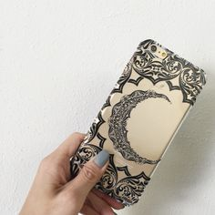 """Clear Plastic Case Cover for iPhone 6 (4.7"""") Crescent Moon Henna – milkyway"""