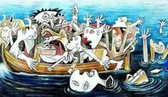 Español La Guernica de Egeo: En 1937, el pintor español Pablo Picasso expresa su disgusto por el fascismo y el régimen de Franco pintando la Guernica. En 2015, el cartonista búlgaro Jovcho Savov representa el ahogamiento de refugiados en Egeo desde su dibujo La Guernica de Egeo.