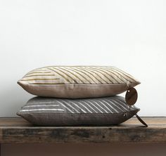 As seen in BETTER HOMES and GARDENS. Karnataka lumbar pillow cover hand printed in metallic ink on Natural Ecru organic hemp
