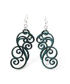 Emerald Filigree Scroll Drop Earrings