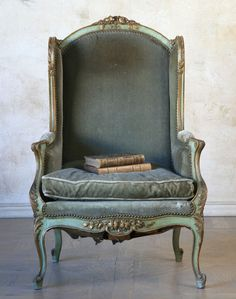 19th C. French Wing Chair w/ Velvet