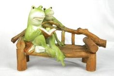 Enchanted Story Fairy Garden Frog Reading on Bench Outdoor Statue