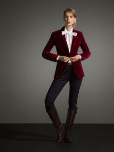 Massimo Dutti - Burgundy Velvet Blazer - Chaqueta de terciopelo rojo burdeos