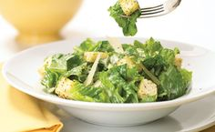 The ever-popular Caesar salad is believed to have been invented in 1924 by Italian chef Caesar Cardini who owned a restaurant in Tijuana, Mexico! Epicure Recipes, Cooking Recipes, Healthy Recipes, Healthy Snacks, Salad Dressing Recipes, Salad Recipes, Salad Dressings, Low Fat Yogurt, Caesar Salad