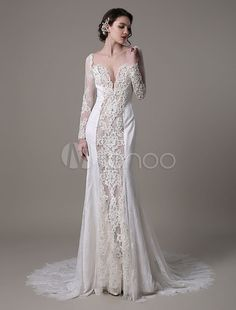 Sexy Lace Vintage Wedding Dress With Long Sleeves Deep Illusion V-Neck Luxury Beaded And Pearls All Bodice -No.5
