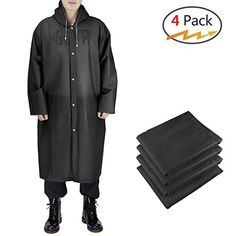 Euow 4 Pack Rain Ponchos for Adult,Reusable Raincoats with Hood    Sleeves,for Camping Hiking 09f521e2a