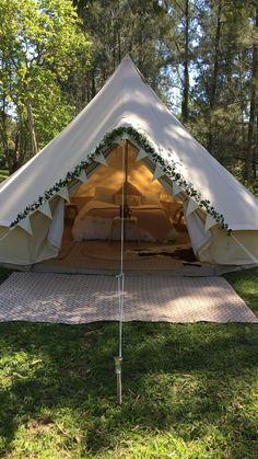 Bridal bell tent Hire a furnished bell tent for your wedding night and sleep under a billion stars! 🌟 Available on the NSW mid north coast. Guest glamping accommodation also available. Bell Tent Camping, Backyard Camping, Camping Glamping, Teepee Tent Camping, Luxury Camping Tents, Yurt Tent, Diy Camping, Outdoor Camping, Fun Sleepover Ideas