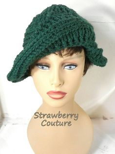 Crochet Beret Hat Crochet Hat Womens Hat Trendy Womens Crochet Hat Forest Green Hat Green Beret Hat PALM LEAF Unique Gift by strawberrycoutureby #strawberrycouture on #Etsy