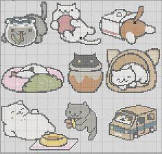9 in 1 Neko Atsume Cross Stitch Pattern Easy by TheSoftScientist