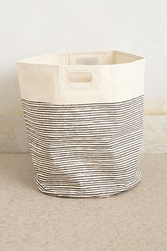 Pencil Stripe Canvas Basket #anthropologie