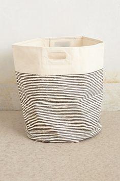 Pencil Stripe Canvas Basket #anthropologie