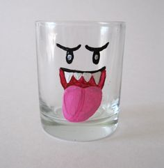 Boo Shot Glass - One Hand Painted Mario Inspired Glass. $8.00, via Etsy.
