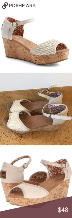 TOMS platform wedges Has textured woven details. Cork wedges. Worn once for a wedding. Great condition. These are no longer sold by TOMS so they are rare, price negotiable TOMS Shoes Wedges