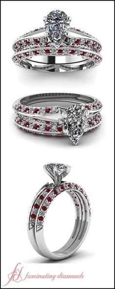 Sleek Split Set ||  Pear Shaped Diamond Wedding Set With Red Ruby In 14K White Gold