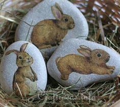 Stones Embellished With Bunnies - bjl