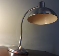 """Vintage French Art Deco Table Lamp (1940s) Chrome and Enamel """"Goose Neck"""" -  Perfect Condition - Substantial Size - Classic Design Statement. $265"""