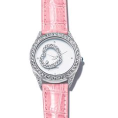 Romantic heart embellished watch with a pink leather-like strap and a rhinestone bezel. It has a floating rhinestone heart under the dial.Heart Face Watch | AVON  www.youravon.com/avon