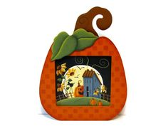 Pumpkin Frame with Fall Scene Insert Handpainted by ToleTreasures
