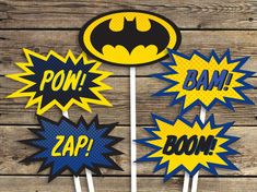 BATMAN Printables - Blue - Sign - Centerpiece photo prop - Super hero - Birthday Party - INSTANT Download PDF by CardsnLetters on Etsy