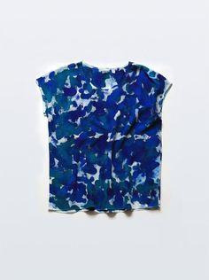 Silk Tee Bluegreen Allover Inkblot, $78.00