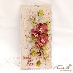 """Just for them"" - beautiful card by Pascale B. Papers from MajaDesign's Vintage Summer Basics collection.    #card #cardmaking #cardinspiration #papercraft #papercrafting #papercrafts #scrapbooking #majadesign #majadesignpaper #majapapers #inspiration #vintage #vintagesummerbasics #flowers"