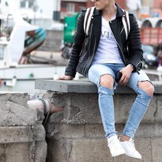#leatherjacket and #ripped jeans  [ http://ift.tt/1f8LY65 ] #royalfashionist