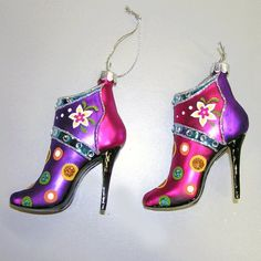 Sterling HIGH Heel Shoes Flowered & Dots Purple Fuchsia Glass Christmas Ornaments New Christmas Shoes, Glass Christmas Ornaments, Christmas Decorations, Fuchsia, Purple, High Heels, Shoes Heels, Boots, Merry Xmas
