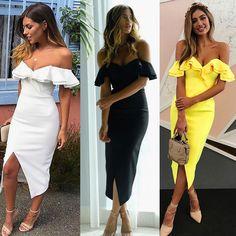 ELSVIOS Double Ruffle Slash Neck Summer Dress 2018 Boho Style Women Dress Off Shoulder Butterfly Sleeve Slim Split Party Dresses