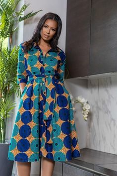 Shop Grass-fields African Print Fashion - African Print Yakira Midi Dress to look effortlessly cool. It's bold and beautiful, perfect for any social occasion! African Fashion Ankara, Latest African Fashion Dresses, African Print Fashion, African Print Clothing, Short African Dresses, African Dress Styles, Ankara Dress Styles, Ankara Mode, African Print Shirt