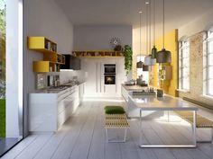 Moderne Küche Weiß Gelb Offene Regale Kochinsel Esstisch Snaidero