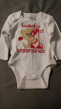 My first valentine. Onesie. Valentine's Day. Embroidery. Braylee's Sew Sweet Boutique.