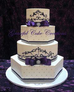 Formal Purple Silver White Ballroom Buttercream Multi-shape Ribbon Wedding Cake Wedding Cakes Photos & Pictures - WeddingWire.com