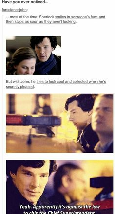Most of the time, Sherlock smiles in someone's face and then stops as soon as they aren't looking .But with John, Sherlock tries to look cool and collected when he's secretly pleased Sherlock Bbc, Sherlock Fandom, Benedict Cumberbatch Sherlock, Watson Sherlock, Jim Moriarty, Sherlock Quotes, Sherlock His Last Vow, Sherlock Tumblr, Supernatural Fandom