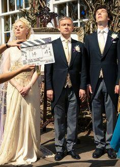 Amanda Abbington (Mary), Martin Freeman (John) and Benedict Cumberbatch (Sherlock) - Behind the scenes of #Sherlock series 3 episode 2: The Sign of Three
