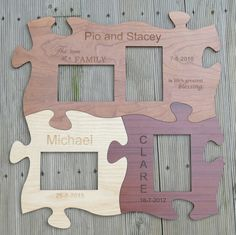 Photo frame set of 4 Engraved laser cut pieces shown before backing and windows added MyChoice@Firebridge